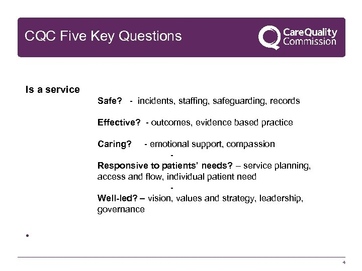 CQC Five Key Questions Is a service Safe? - incidents, staffing, safeguarding, records Effective?