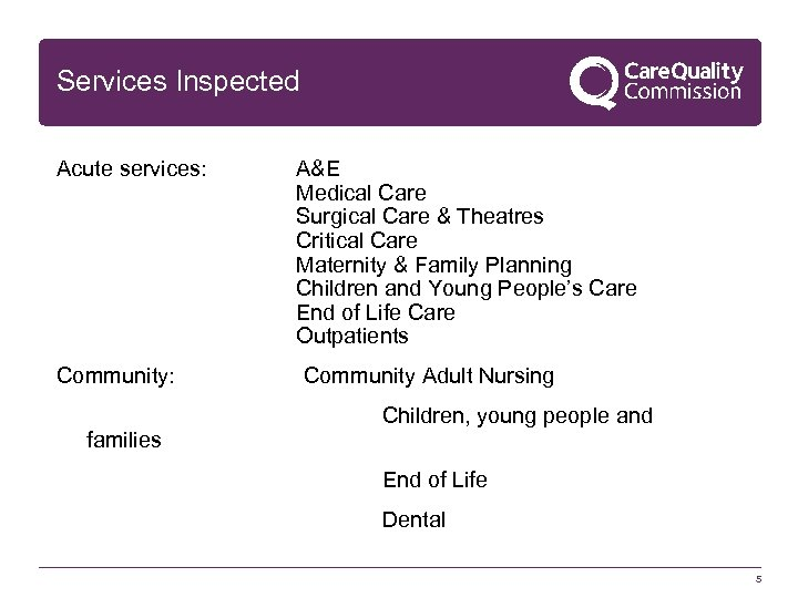 Services Inspected Acute services: A&E Medical Care Surgical Care & Theatres Critical Care Maternity