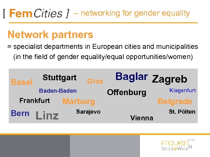 – networking for gender equality Network partners = specialist departments in European cities and