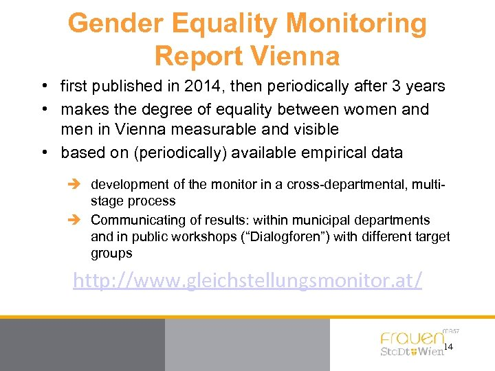 Gender Equality Monitoring Report Vienna • first published in 2014, then periodically after 3