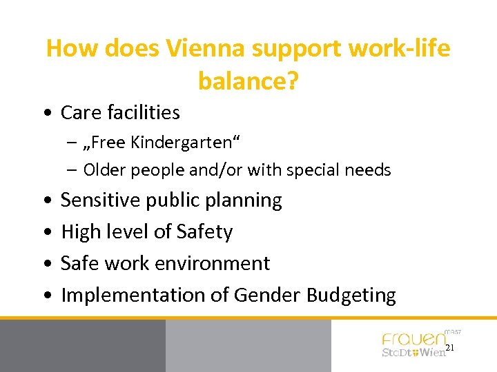"""How does Vienna support work-life balance? • Care facilities – """"Free Kindergarten"""" – Older"""