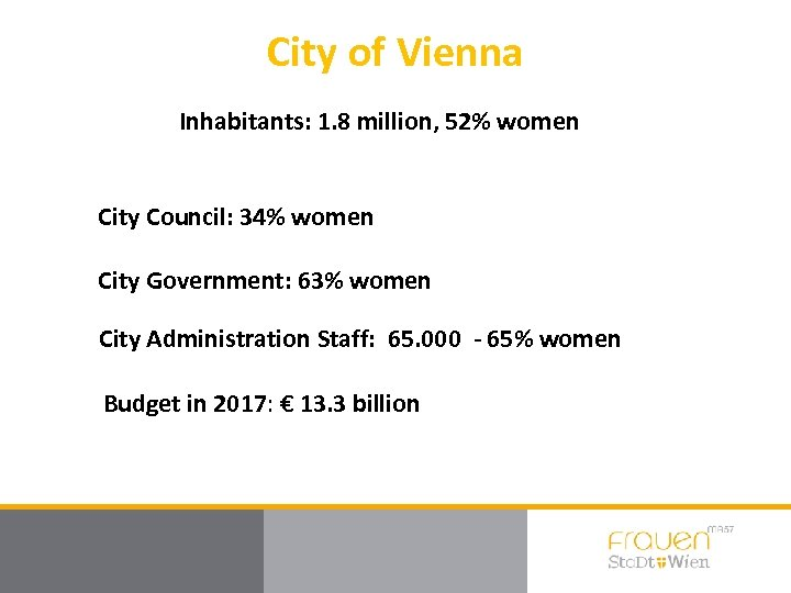 City of Vienna Inhabitants: 1. 8 million, 52% women City Council: 34% women City