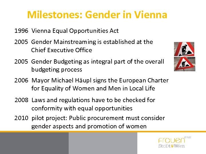 Milestones: Gender in Vienna 1996 Vienna Equal Opportunities Act 2005 Gender Mainstreaming is established