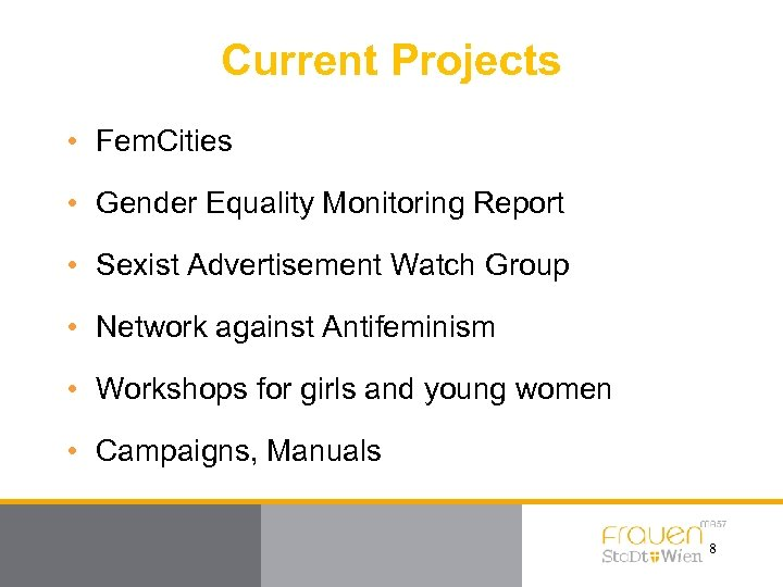 Current Projects • Fem. Cities • Gender Equality Monitoring Report • Sexist Advertisement Watch