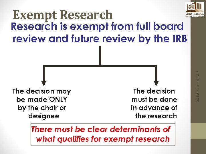 Exempt Research The decision may be made ONLY by the chair or designee The