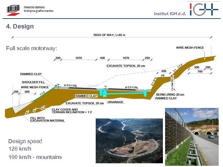 Institut IGH d. d. 4. Design Full scale motorway: Design speed 120 km/h 100