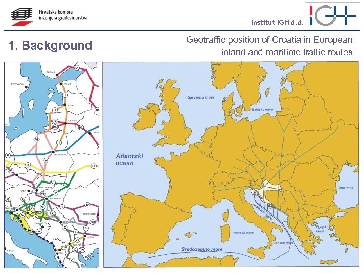 Institut IGH d. d. 1. Background Geotraffic position of Croatia in European inland maritime