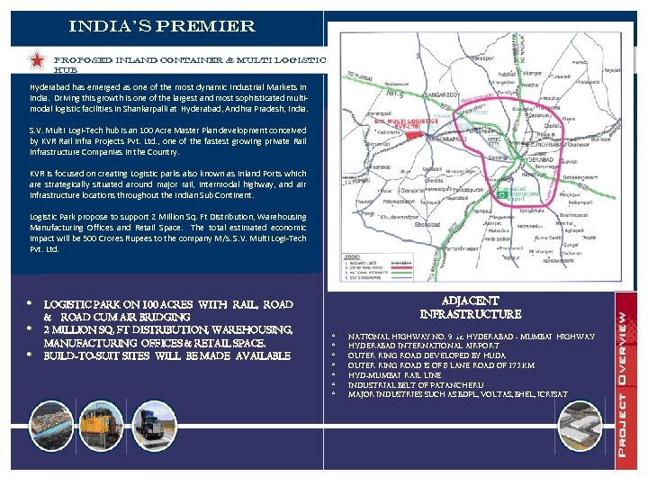 India's Premier PROPOSED INLAND CONTAINER & MULTI LOGISTIC HUB Hyderabad has emerged as one