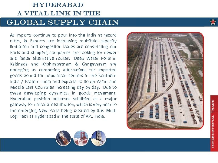 HYDERABAD A VITAL LINK IN THE GLOBAL SUPPLY CHAIN As imports continue to pour