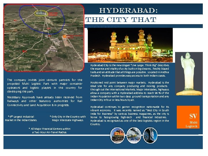 HYDERABAD: THE CITY THAT WORKS SV Multi Logitech Hyderabad City is the new slogan