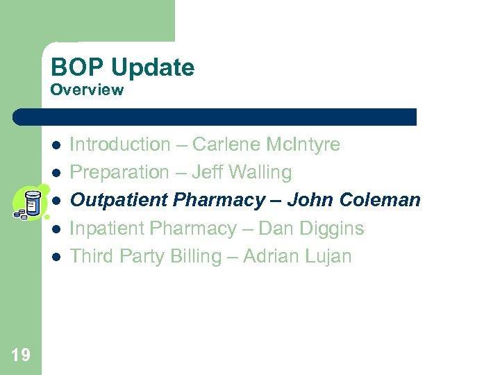 BOP Update Overview l l l 19 Introduction – Carlene Mc. Intyre Preparation –
