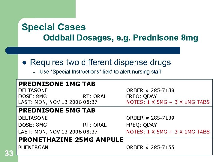 Special Cases Oddball Dosages, e. g. Prednisone 8 mg l Requires two different dispense