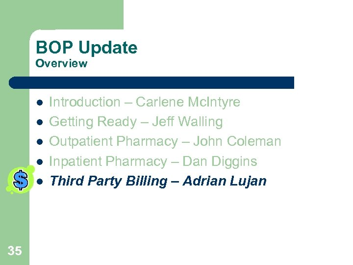 BOP Update Overview l l l 35 Introduction – Carlene Mc. Intyre Getting Ready