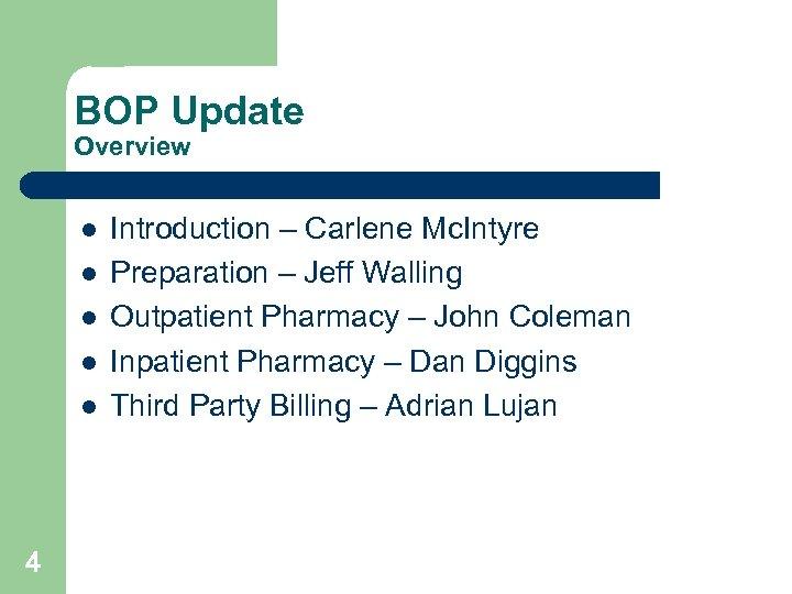 BOP Update Overview l l l 4 Introduction – Carlene Mc. Intyre Preparation –