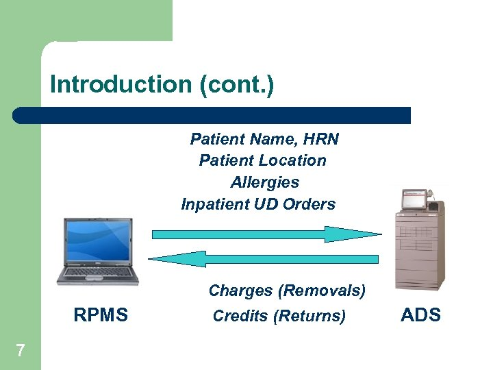 Introduction (cont. ) Patient Name, HRN Patient Location Allergies Inpatient UD Orders Charges (Removals)