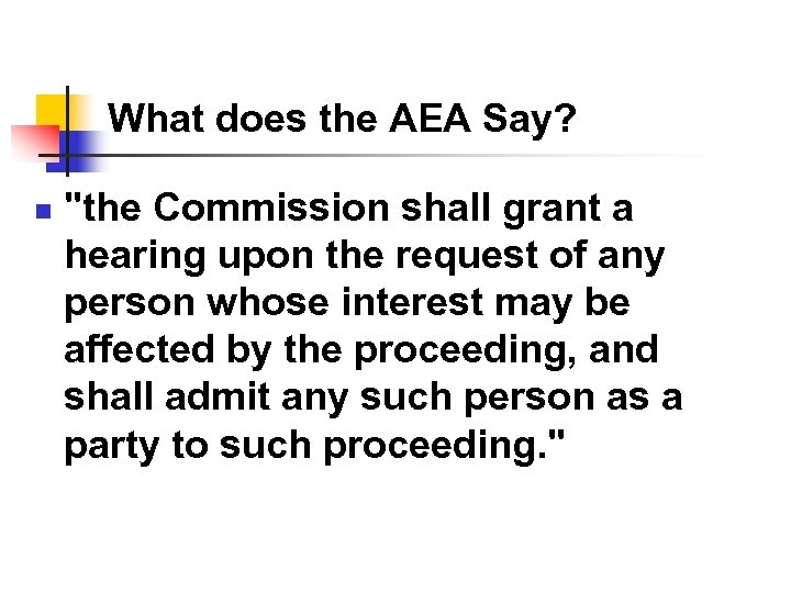 What does the AEA Say? n