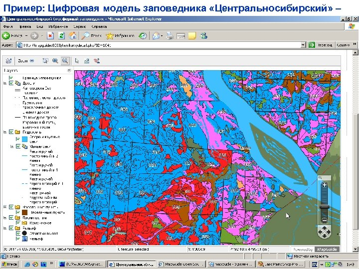 Пример: Цифровая модель заповедника «Центральносибирский» –