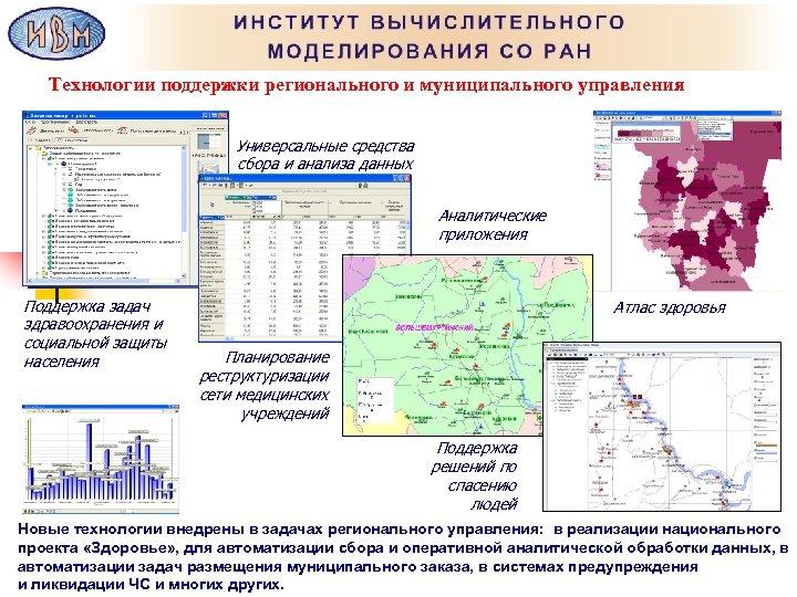 Технологии поддержки регионального и муниципального управления Универсальные средства сбора и анализа данных Аналитические приложения