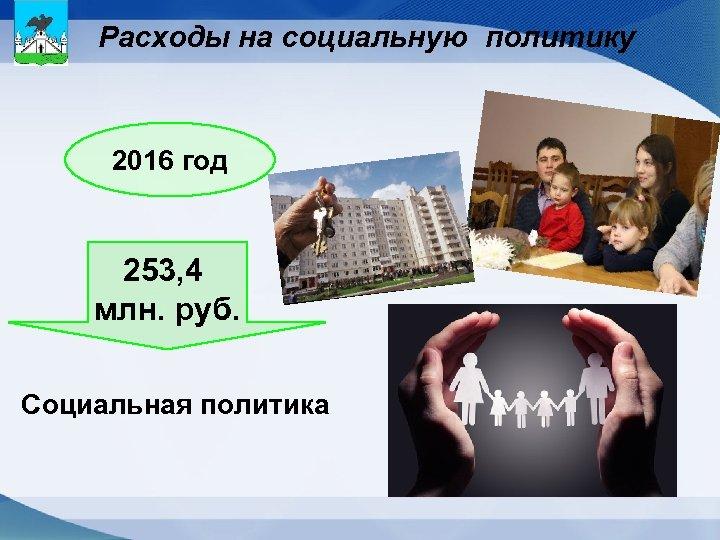 Расходы на социальную политику 2016 год 253, 4 млн. руб. Социальная политика