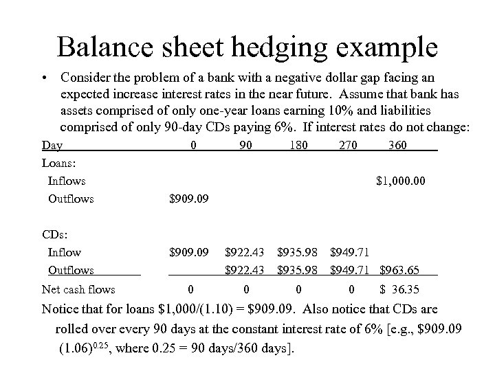 Balance sheet hedging example • Consider the problem of a bank with a negative