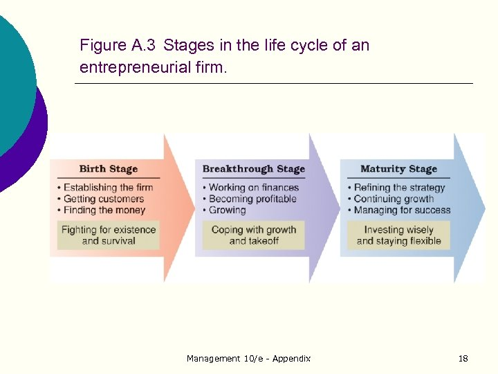 Figure A. 3 Stages in the life cycle of an entrepreneurial firm. Management 10/e