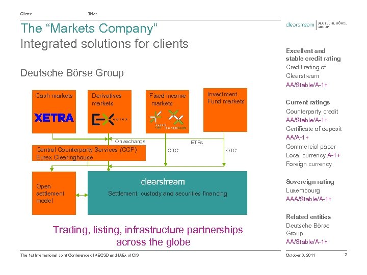 "Client: Title: The ""Markets Company"" Integrated solutions for clients Excellent and stable credit rating"