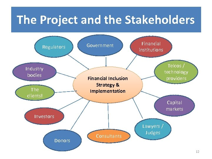 The Project and the Stakeholders Regulators Industry bodies Government Financial institutions Telcos / technology