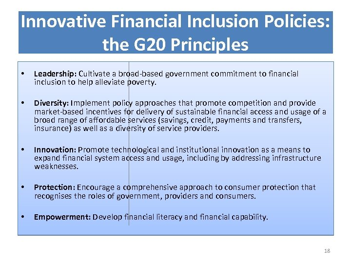 Innovative Financial Inclusion Policies: the G 20 Principles • Leadership: Cultivate a broad-based government