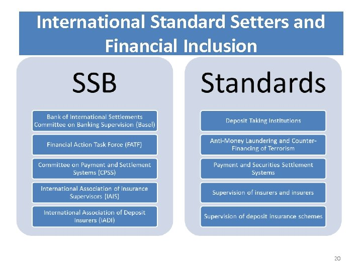 International Standard Setters and Financial Inclusion 20
