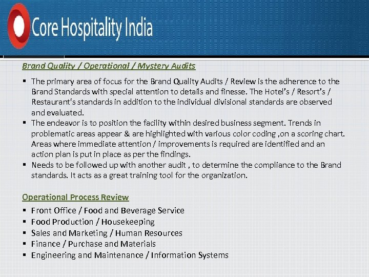 Brand Quality / Operational / Mystery Audits § The primary area of focus for