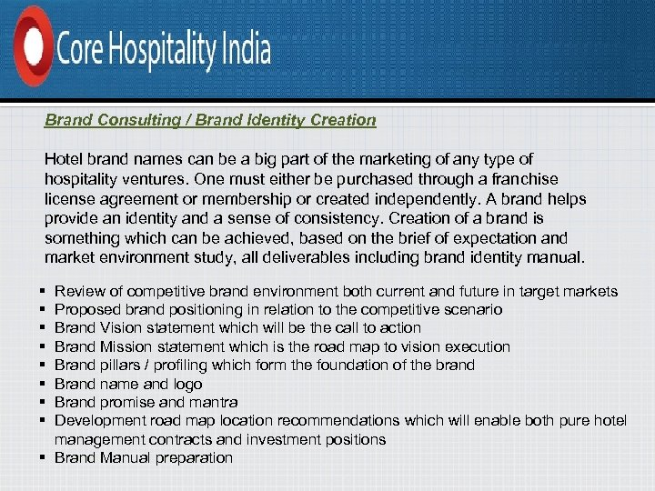 Brand Consulting / Brand Identity Creation Hotel brand names can be a big part
