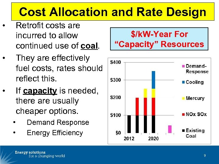 Cost Allocation and Rate Design • Retrofit costs are incurred to allow continued use