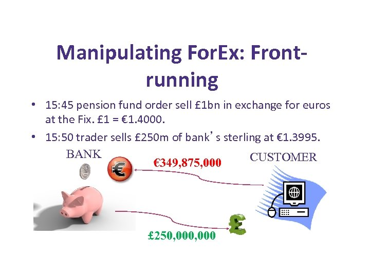 Manipulating For. Ex: Frontrunning • 15: 45 pension fund order sell £ 1 bn