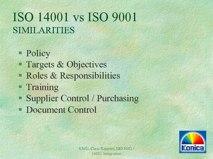 ISO 14001 vs ISO 9001 SIMILARITIES § § § Policy Targets & Objectives Roles