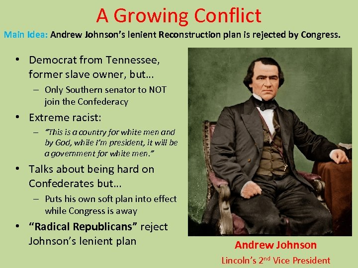 A Growing Conflict Main Idea: Andrew Johnson's lenient Reconstruction plan is rejected by Congress.
