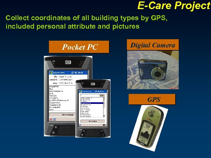 E-Care Project Collect coordinates of all building types by GPS, included personal attribute and