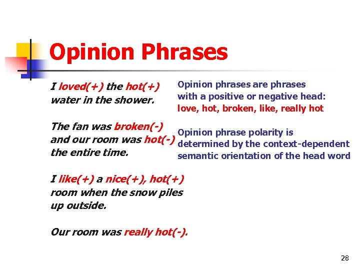 Opinion Phrases I loved(+) the hot(+) water in the shower. Opinion phrases are phrases