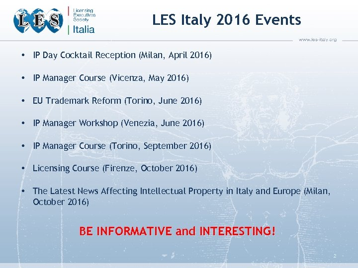 LES Italy 2016 Events • IP Day Cocktail Reception (Milan, April 2016) • IP
