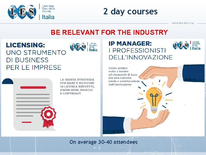 2 day courses BE RELEVANT FOR THE INDUSTRY On average 30 -40 attendees