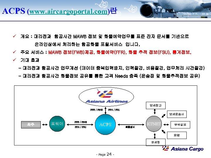 ACPS (www. aircargoportal. com)란 ü 개요 : 대리점과 항공사간 MAWB 정보 및 화물예약업무를 표준
