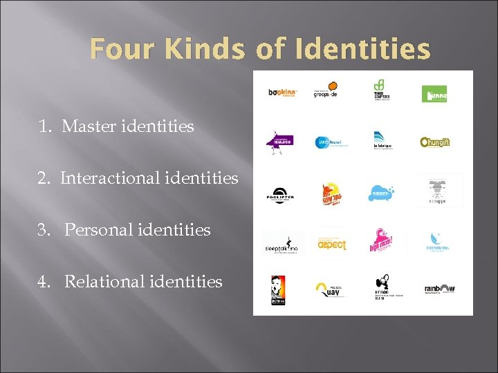 Four Kinds of Identities 1. Master identities 2. Interactional identities 3. Personal identities 4.