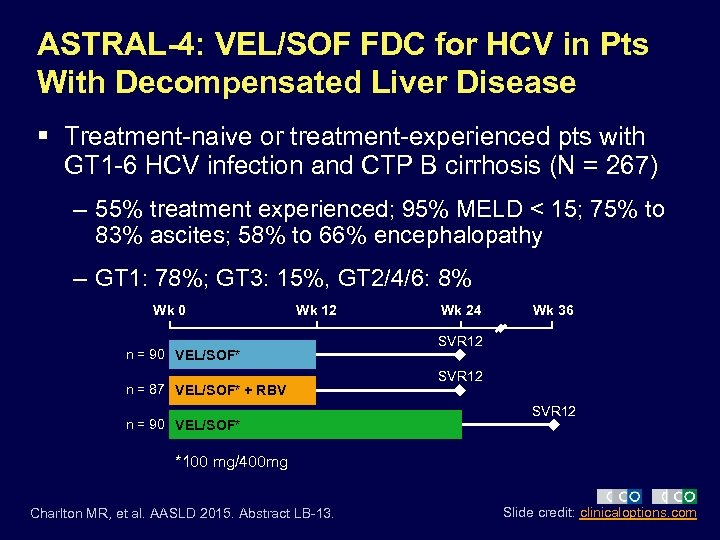 ASTRAL-4: VEL/SOF FDC for HCV in Pts With Decompensated Liver Disease § Treatment-naive or