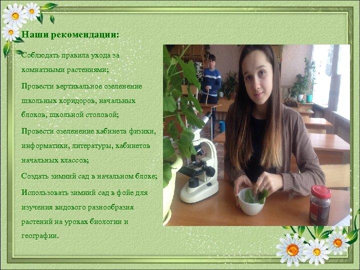 Наши рекомендации: Соблюдать правила ухода за комнатными растениями; Провести вертикальное озеленение школьных коридоров, начальных