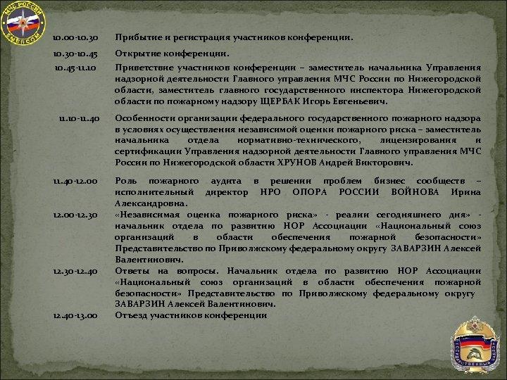 10. 00 -10. 30 Прибытие и регистрация участников конференции. 10. 30 -10. 45 Открытие