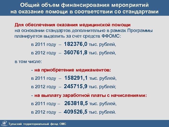Общий объем финансирования мероприятий на оказание помощи в соответствии со стандартами Для обеспечения оказания