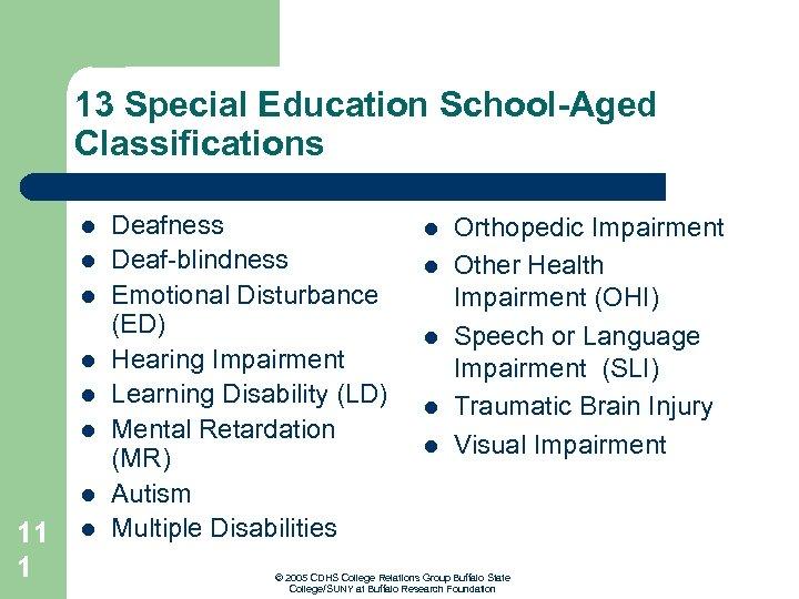 13 Special Education School-Aged Classifications l l l l 11 1 l Deafness Deaf-blindness