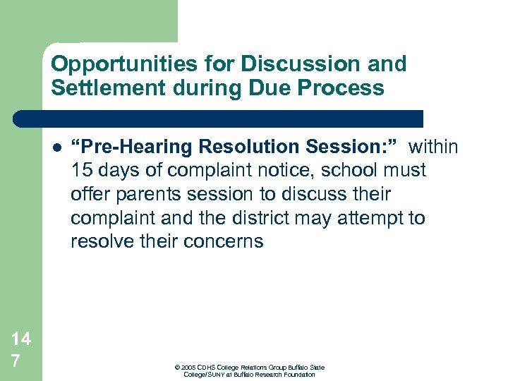 """Opportunities for Discussion and Settlement during Due Process l 14 7 """"Pre-Hearing Resolution Session:"""