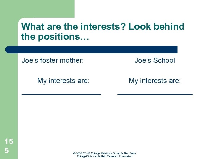 What are the interests? Look behind the positions… Joe's foster mother: My interests are: