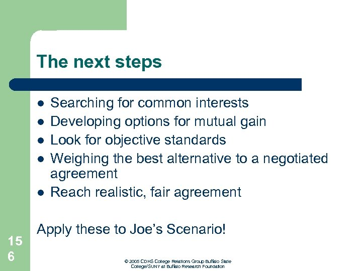 The next steps l l l 15 6 Searching for common interests Developing options