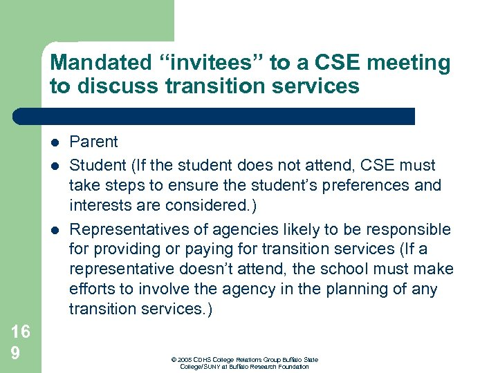 """Mandated """"invitees"""" to a CSE meeting to discuss transition services l l l 16"""